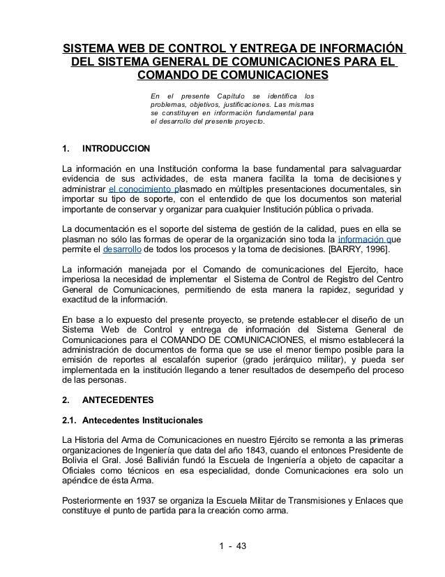 SISTEMA WEB DE CONTROL Y ENTREGA DE INFORMACIÓN DEL SISTEMA GENERAL DE COMUNICACIONES PARA EL           COMANDO DE COMUNIC...