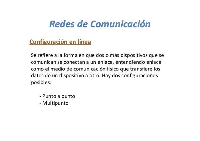 Redes de ComunicaciónConfiguración en líneaSe refiere a la forma en que dos o más dispositivos que secomunican se conectan...