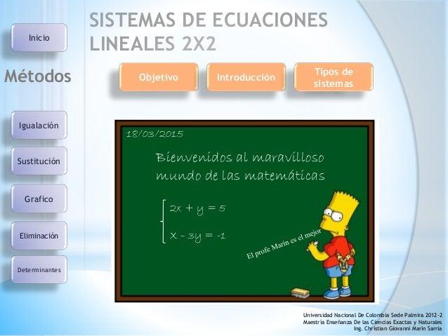 SISTEMAS DE ECUACIONES LINEALES 2X2 Igualación Sustitución Eliminación Grafico Métodos Determinantes Universidad Nacional ...
