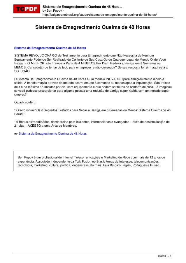 Sistema de Emagrecimento Queima de 48 Hora... by Ben Popov http://bulgarosnobrasil.org/saude/sistema-de-emagrecimento-quei...