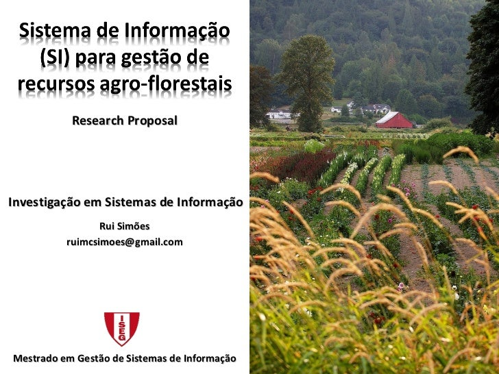Sistema De Informação (Si) para a gestão de recursos fgro-florestais