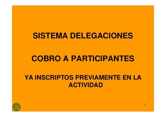 1  SISTEMA DELEGACIONES  COBRO A PARTICIPANTES  YA INSCRIPTOS PREVIAMENTE EN LA  ACTIVIDAD