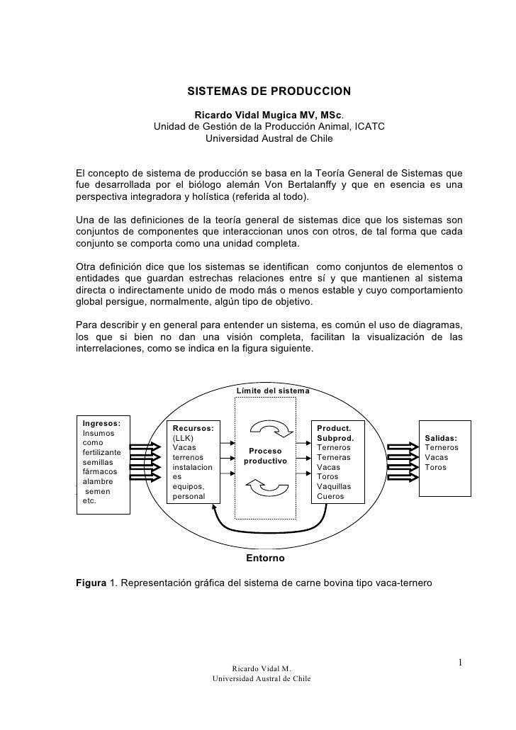 SISTEMAS DE PRODUCCION                         Ricardo Vidal Mugica MV, MSc.                 Unidad de Gestión de la Produ...