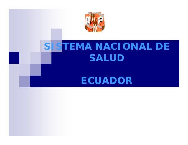 Sistema de salud del ecuador