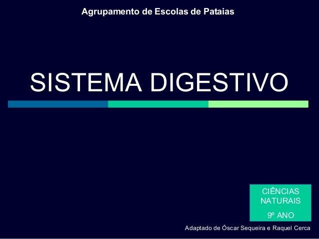 Agrupamento de Escolas de Pataias  SISTEMA DIGESTIVO  CIÊNCIAS NATURAIS 9º ANO Adaptado de Óscar Sequeira e Raquel Cerca