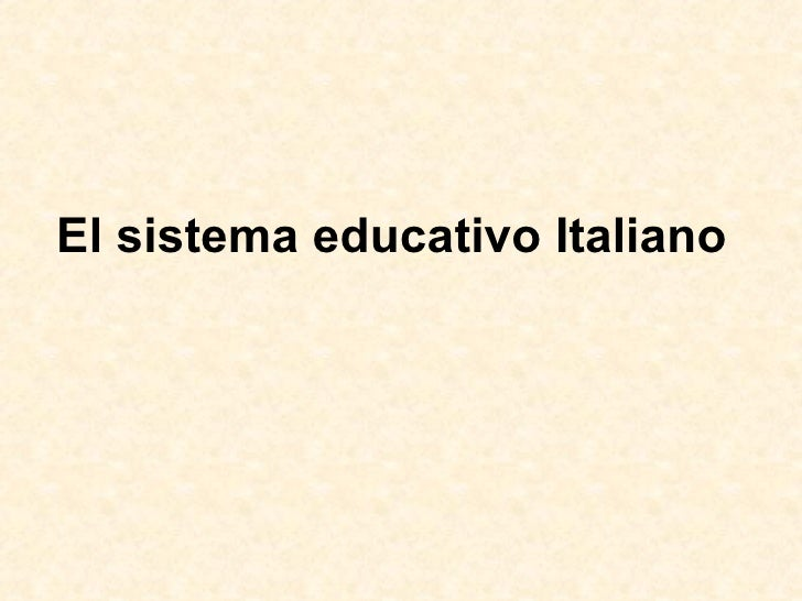 El sistema educativo Italiano