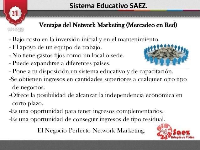 Sistema Educativo SAEZ. Ventajas del Network Marketing (Mercadeo en Red) - Bajo costo en la inversión inicial y en el mant...