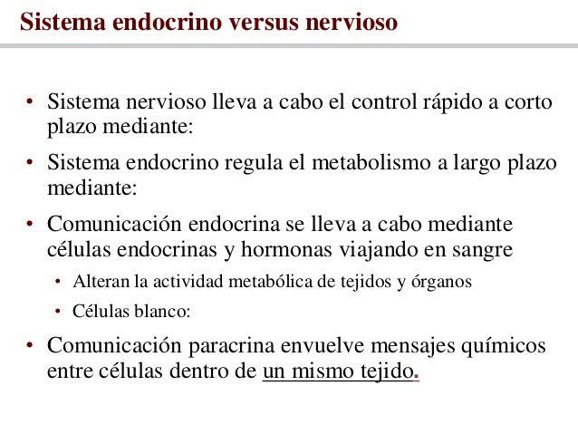 Sistema endocrino versus nervioso• Sistema nervioso lleva a cabo el control rápido a corto  plazo mediante:• Sistema endoc...