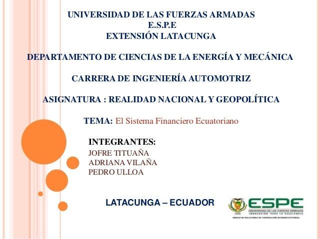 UNIVERSIDAD DE LAS FUERZAS ARMADAS E.S.P.E EXTENSIÓN LATACUNGA DEPARTAMENTO DE CIENCIAS DE LA ENERGÍA Y MECÁNICA CARRERA D...
