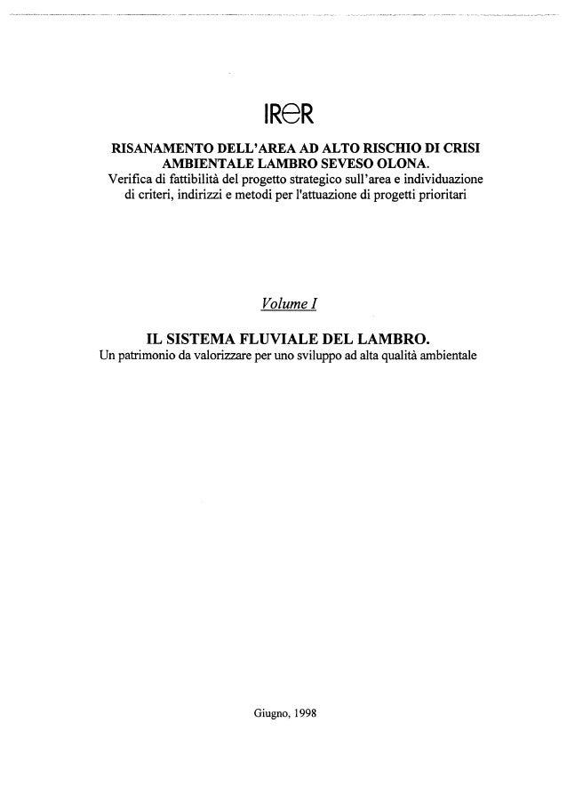1998 - Il sistema fluviale del Lambro. Un patrimonio da valorizzare per uno sviluppo ad alta qualità ambientale