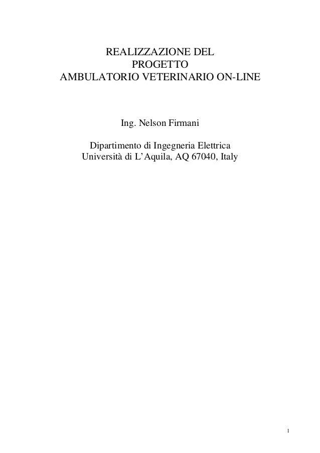 REALIZZAZIONE DEL          PROGETTOAMBULATORIO VETERINARIO ON-LINE            Ing. Nelson Firmani    Dipartimento di Ingeg...
