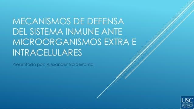 MECANISMOS DE DEFENSA DEL SISTEMA INMUNE ANTE MICROORGANISMOS EXTRA E INTRACELULARES Presentado por: Alexander Valderrama