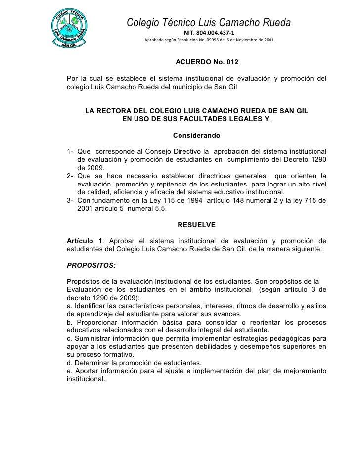 Sistema institucional de evaluacion 2010 aprobado
