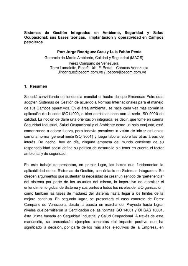 Sistemas de Gestión Integrados en Ambiente, Seguridad y Salud Ocupacional: sus bases teóricas, implantación y operatividad...