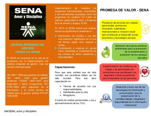 SISTEMA INTEGRADO DE GESTION Calidad con calidez El SENA se encamina en la ruta de la excelencia con la implementación del...