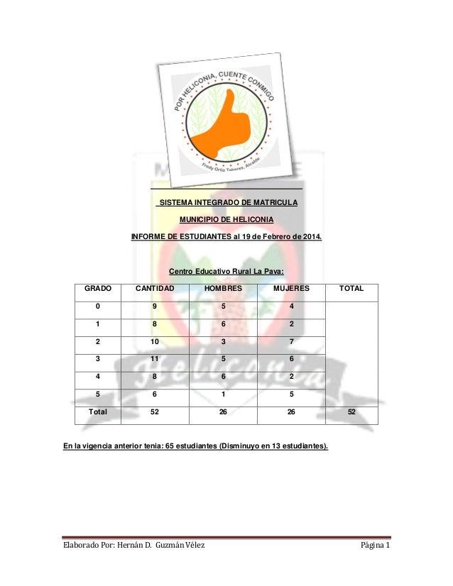 SISTEMA INTEGRADO DE MATRICULA MUNICIPIO DE HELICONIA INFORME DE ESTUDIANTES al 19 de Febrero de 2014.  Centro Educativo R...