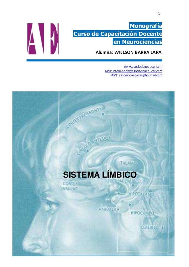 1  Monografía Curso de Capacitación Docente en Neurociencias Alumna: WILLSON BARRA LARA www.asociacioneducar.com Mail: inf...
