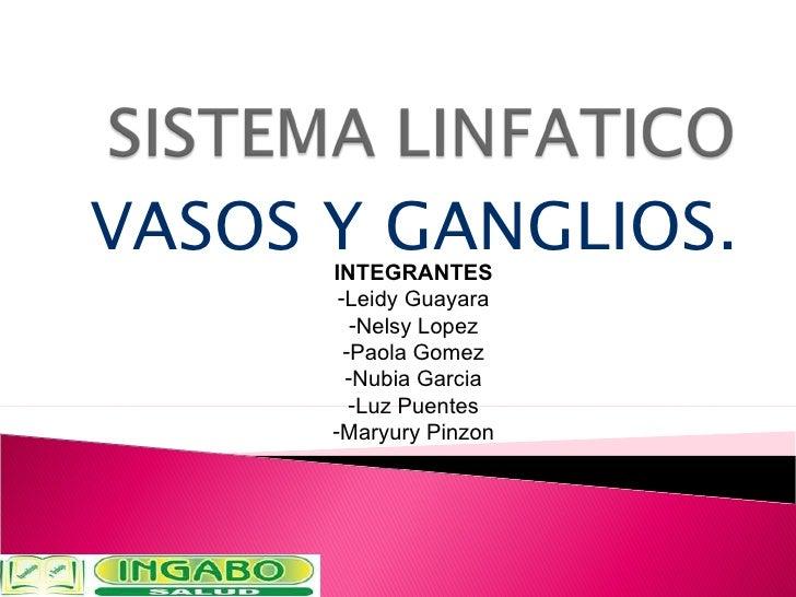 VASOS Y GANGLIOS. <ul><li>INTEGRANTES </li></ul><ul><li>Leidy Guayara </li></ul><ul><li>Nelsy Lopez </li></ul><ul><li>Paol...
