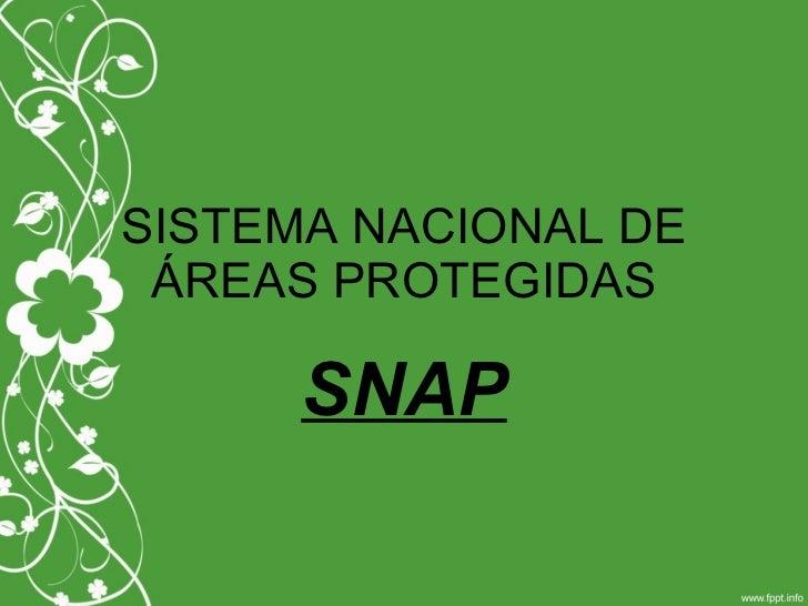 SISTEMA NACIONAL DE ÁREAS PROTEGIDAS SNAP