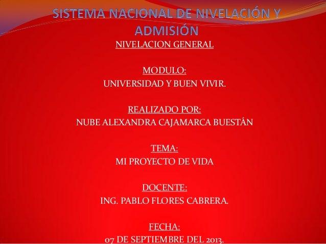 NIVELACION GENERAL MODULO: UNIVERSIDAD Y BUEN VIVIR. REALIZADO POR: NUBE ALEXANDRA CAJAMARCA BUESTÁN TEMA: MI PROYECTO DE ...