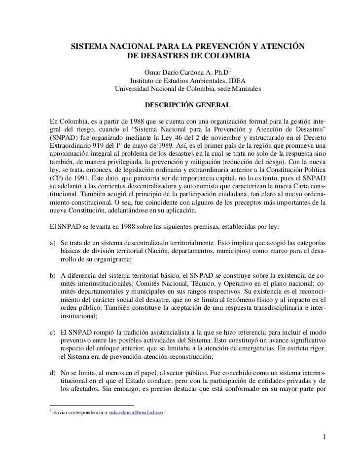 SISTEMA NACIONAL PARA LA PREVENCIÓN Y ATENCIÓN                      DE DESASTRES DE COLOMBIA                              ...