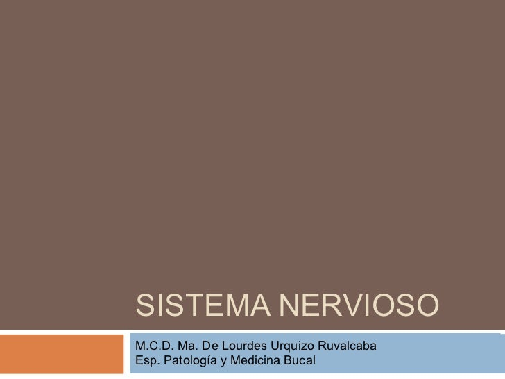 SISTEMA NERVIOSOCIENCIAS MORFOLÓGICASM.C.D. Ma. De Lourdes Urquizo RuvalcabaEsp. Patología y Medicina Bucal DE ZACATECASUN...