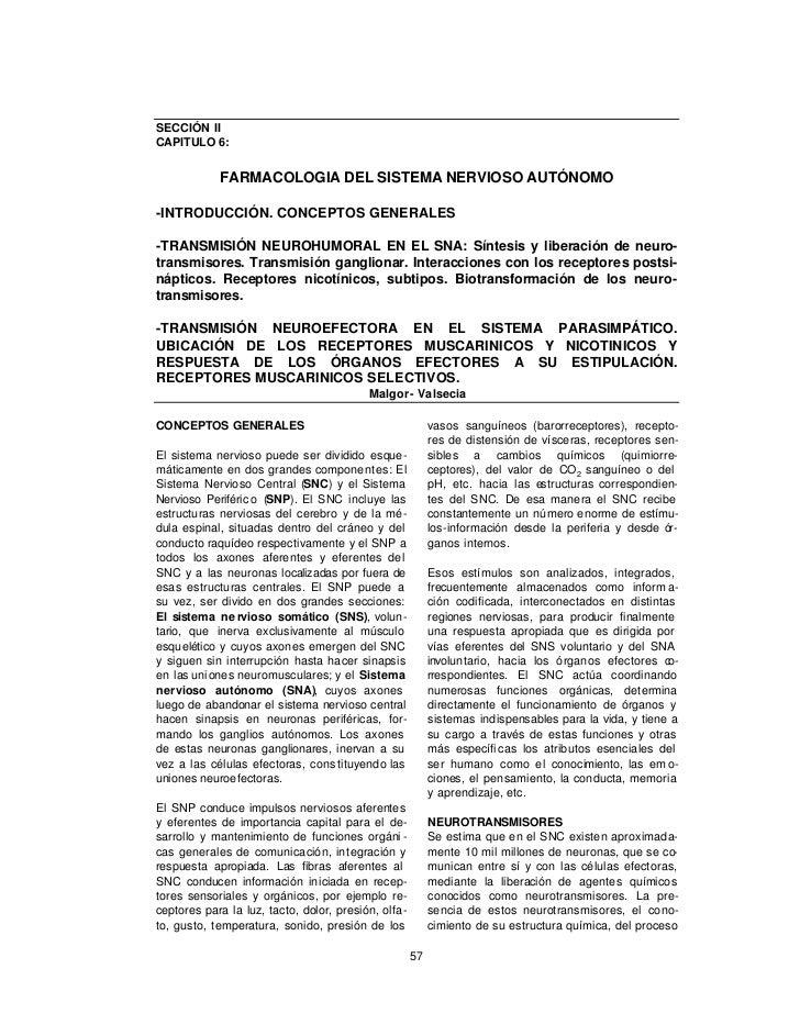 SECCIÓN IICAPITULO 6:            FARMACOLOGIA DEL SISTEMA NERVIOSO AUTÓNOMO-INTRODUCCIÓN. CONCEPTOS GENERALES-TRANSMISIÓN ...