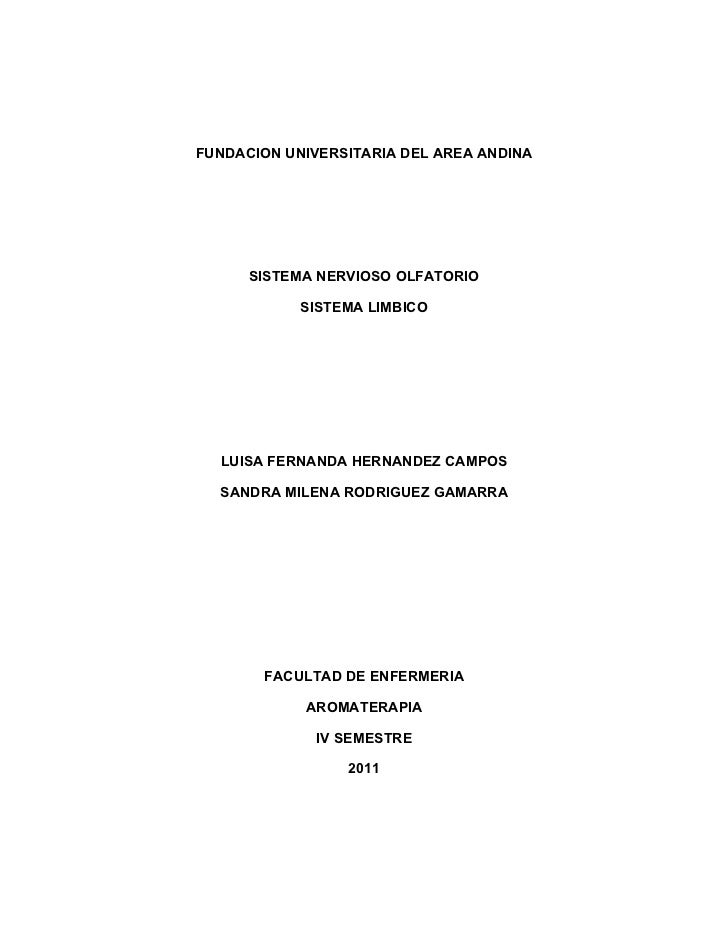 FUNDACION UNIVERSITARIA DEL AREA ANDINA      SISTEMA NERVIOSO OLFATORIO            SISTEMA LIMBICO  LUISA FERNANDA HERNAND...