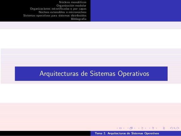 N´ucleos monol´ıticos Organizaci´on modular Organizaciones estratificadas o por capas N´ucleos extensibles o micron´ucleos ...