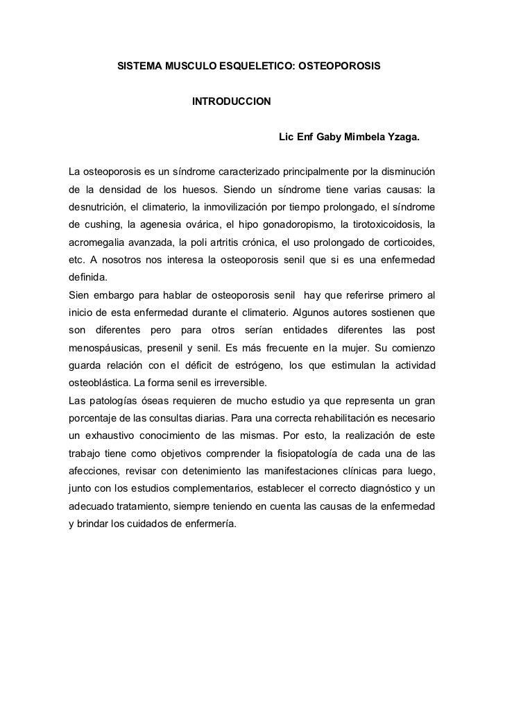 SISTEMA MUSCULO ESQUELETICO: OSTEOPOROSIS                               INTRODUCCION                                      ...