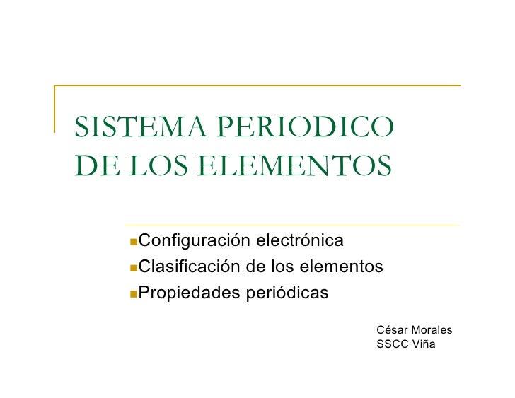 SISTEMA PERIODICO DE LOS ELEMENTOS    nConfiguraciónelectrónica    nClasificacióndeloselementos    nPropiedadesperi...