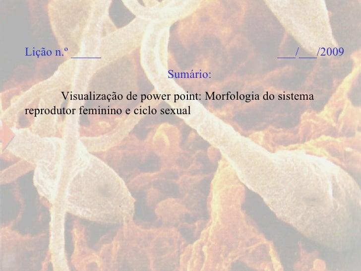 Lição n.º _____  ___/___/2009 Sumário:   Visualização de power point: Morfologia do sistema reprodutor feminino e ciclo se...