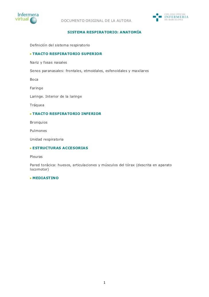 DOCUMENTO ORIGINAL DE LA AUTORA                        SISTEMA RESPIRATORIO: ANATOMÍADefinición del sistema respiratorio T...
