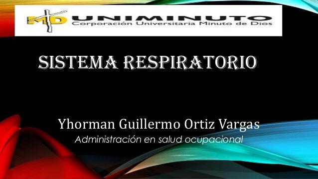 SISTEMA RESPIRATORIO Yhorman Guillermo Ortiz Vargas Administración en salud ocupacional