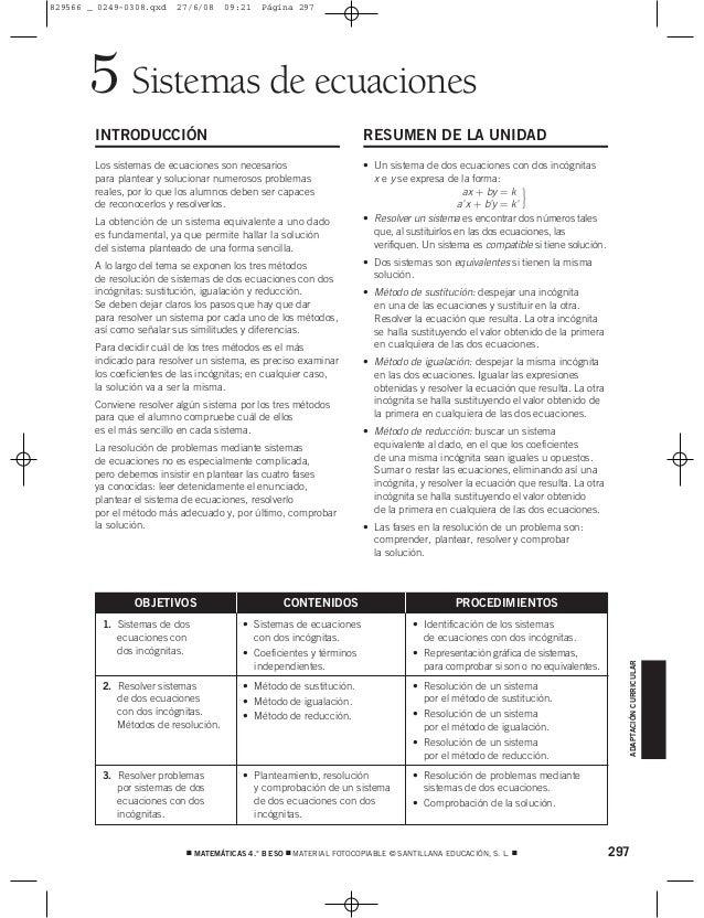 297 MATEMÁTICAS 4.° B ESO  MATERIAL FOTOCOPIABLE © SANTILLANA EDUCACIÓN, S. L.  ADAPTACIÓNCURRICULAR Sistemas de ecuaci...