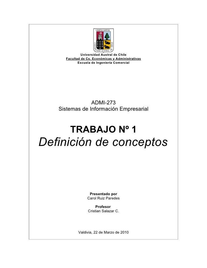 Universidad Austral de Chile      Facultad de Cs. Económicas y Administrativas             Escuela de Ingeniería Comercial...