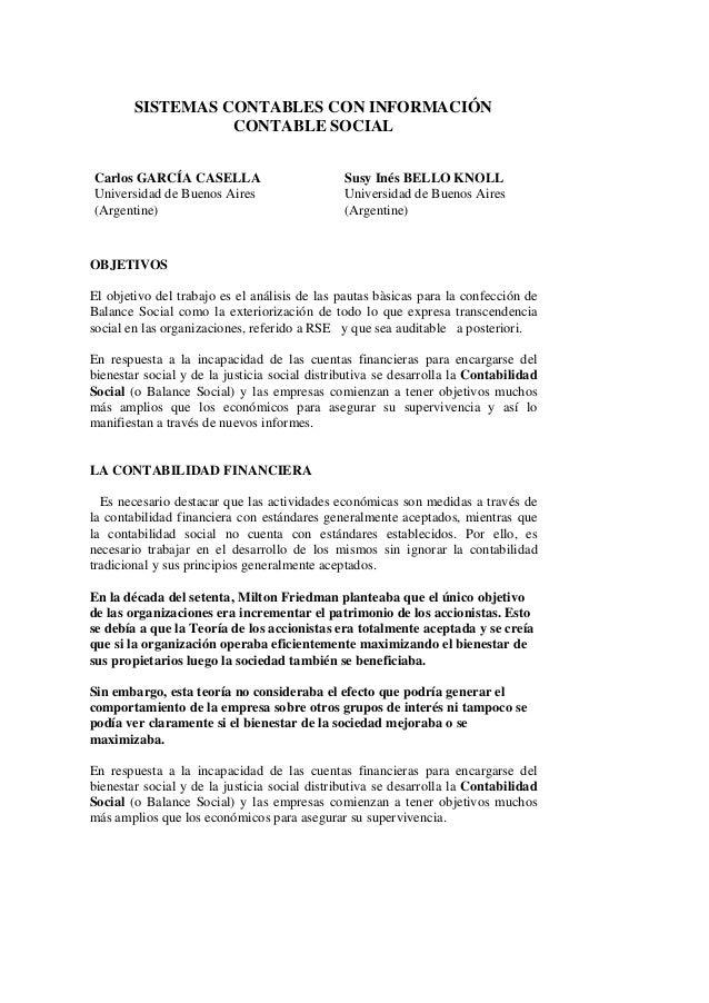 SISTEMAS CONTABLES CON INFORMACIÓN                  CONTABLE SOCIALCarlos GARCÍA CASELLA                          Susy Iné...