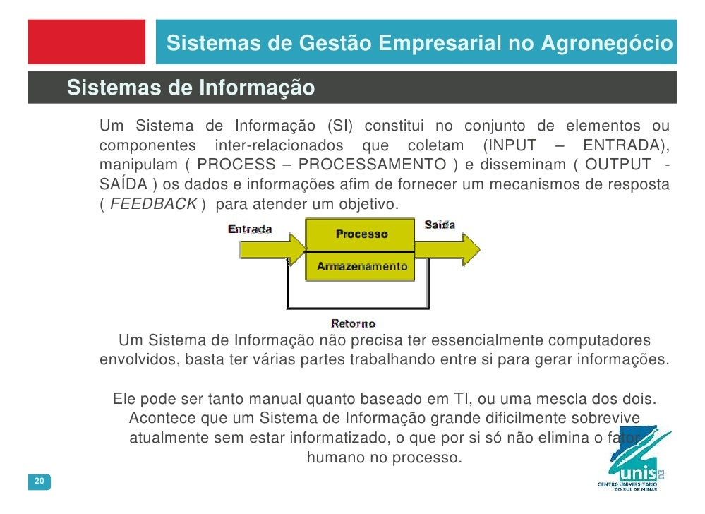 Sistemas de Gestão Empresarial no Agronegócio       Sistemas de Informação        Um Sistema de Informação (SI) constitui ...