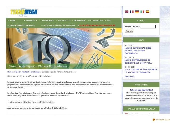 Sistemas Fijación Plantas Fotovoltaicas