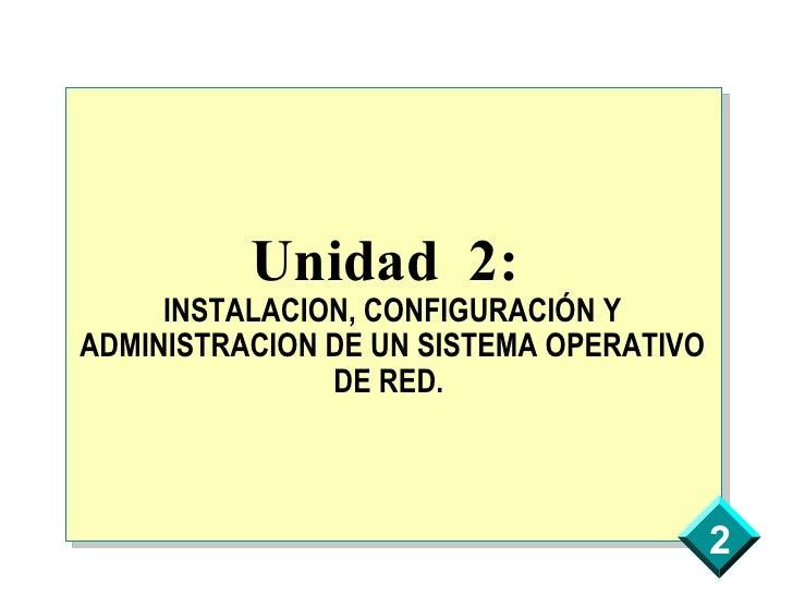 Unidad 2:      INSTALACION, CONFIGURACIÓN Y ADMINISTRACION DE UN SISTEMA OPERATIVO                DE RED.                 ...