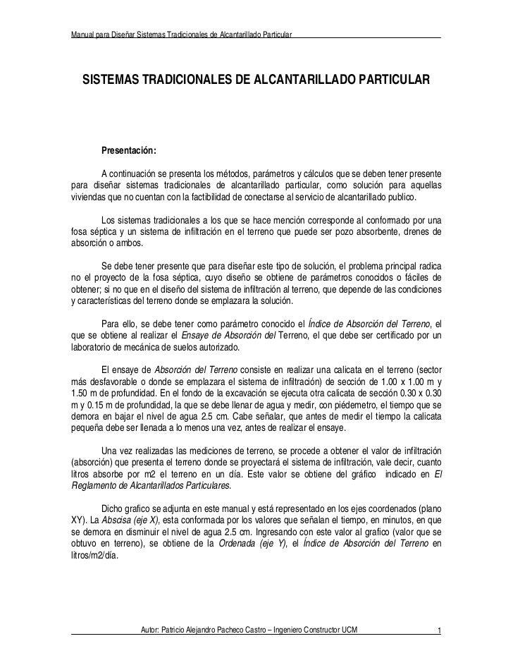Manual para Diseñar Sistemas Tradicionales de Alcantarillado Particular   SISTEMAS TRADICIONALES DE ALCANTARILLADO PARTICU...