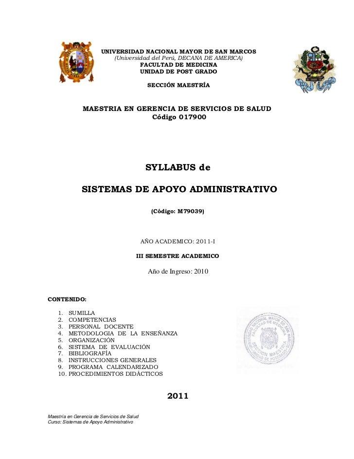 Sistemas de Apoyo  Administrativo 2011