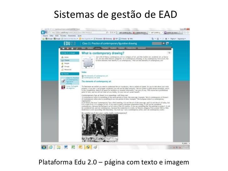 Sistemas de gestão de EADPlataforma Edu 2.0 – página com texto e imagem