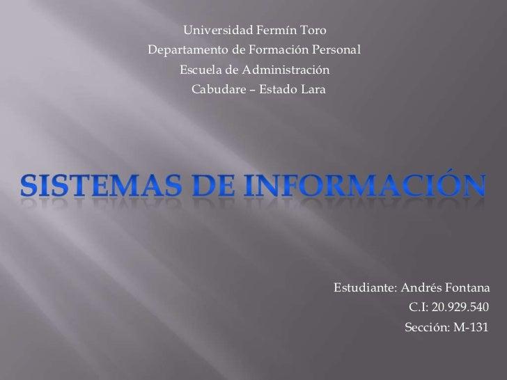 Universidad Fermín ToroDepartamento de Formación Personal     Escuela de Administración      Cabudare – Estado Lara       ...