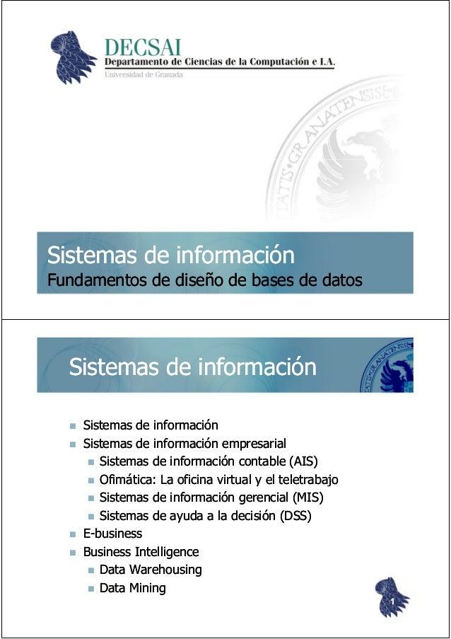 Sistemas de informaciónSistemas de información Fundamentos de diseño de bases de datosFundamentos de diseño de bases de da...