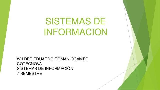 SISTEMAS DE INFORMACION WILDER EDUARDO ROMÁN OCAMPO COTECNOVA SISTEMAS DE INFORMACIÓN 7 SEMESTRE
