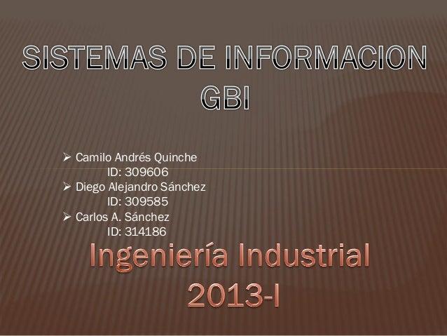  Camilo Andrés Quinche        ID: 309606 Diego Alejandro Sánchez        ID: 309585 Carlos A. Sánchez        ID: 314186