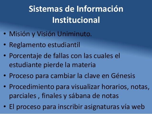 Sistemas de Información Institucional • Misión y Visión Uniminuto. • Reglamento estudiantil • Porcentaje de fallas con las...