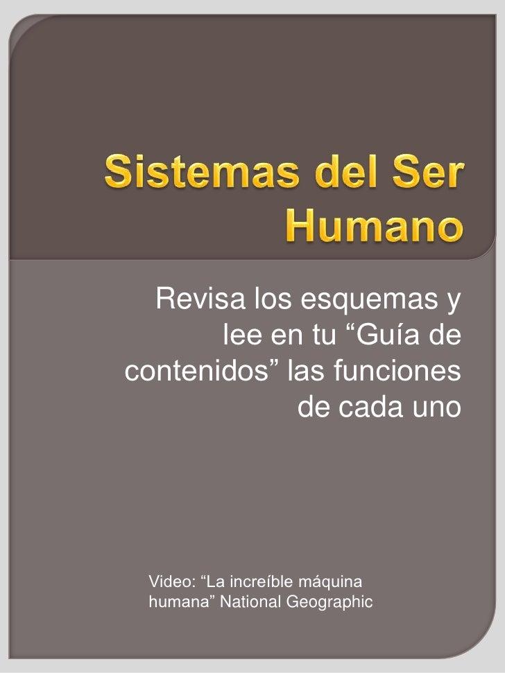 """Sistemas del Ser Humano<br />Revisa los esquemas y lee en tu """"Guía de contenidos"""" las funciones de cada uno<br />Video: """"L..."""