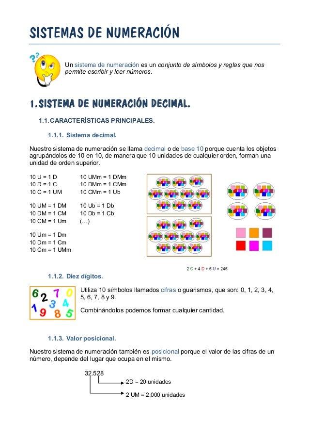 SISTEMAS DE NUMERACIÓN Un sistema de numeración es un conjunto de símbolos y reglas que nos permite escribir y leer número...